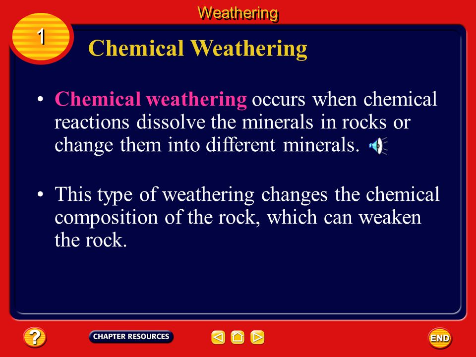 Weathering 1. Chemical Weathering.