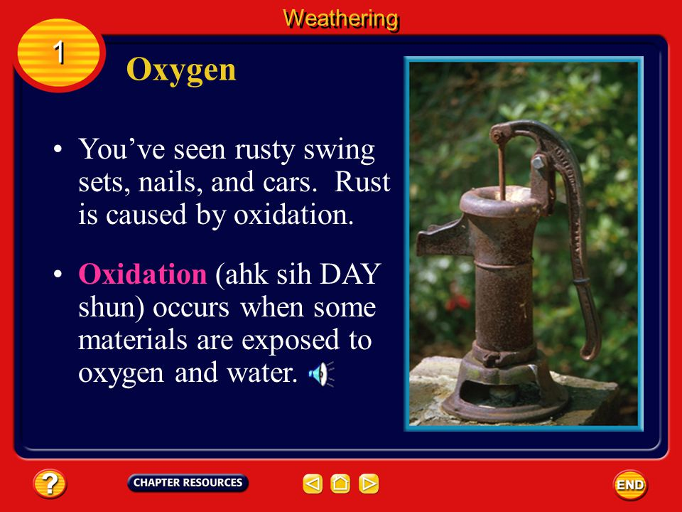 Weathering 1. Oxygen. You've seen rusty swing sets, nails, and cars. Rust is caused by oxidation.