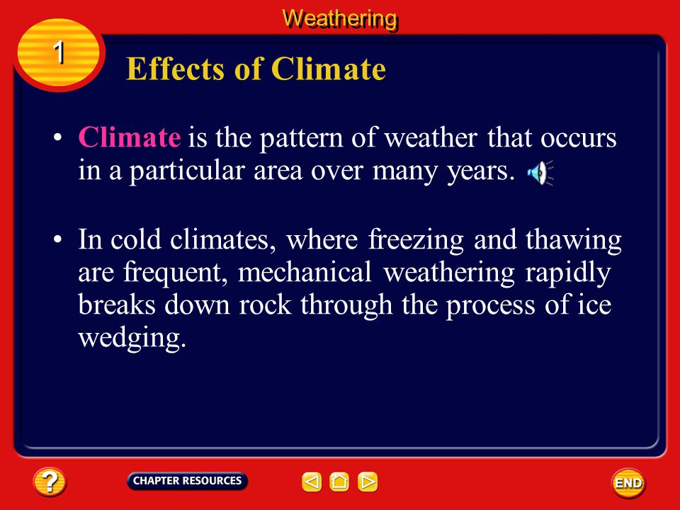 Weathering 1. Effects of Climate. Climate is the pattern of weather that occurs in a particular area over many years.