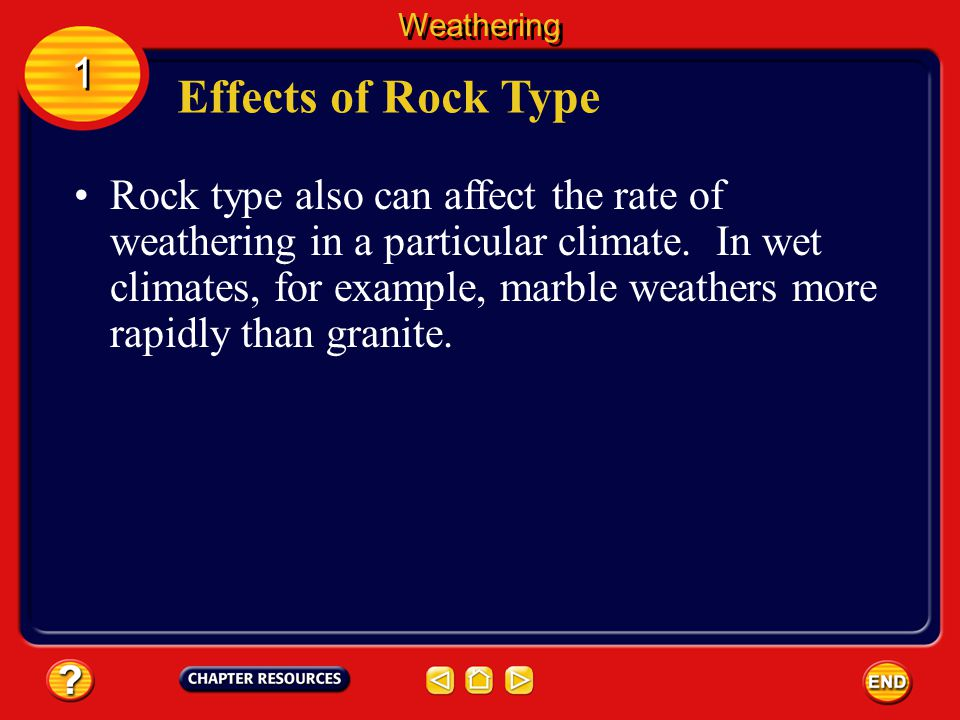 Weathering 1. Effects of Rock Type.
