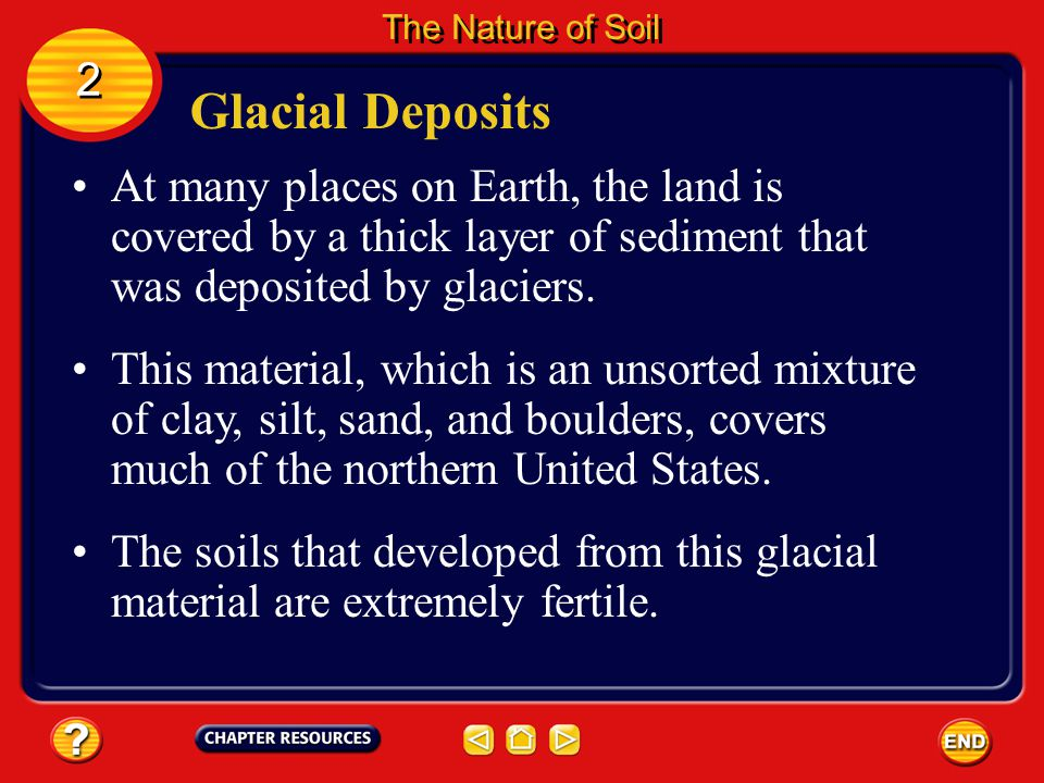 The Nature of Soil 2. Glacial Deposits. At many places on Earth, the land is covered by a thick layer of sediment that was deposited by glaciers.