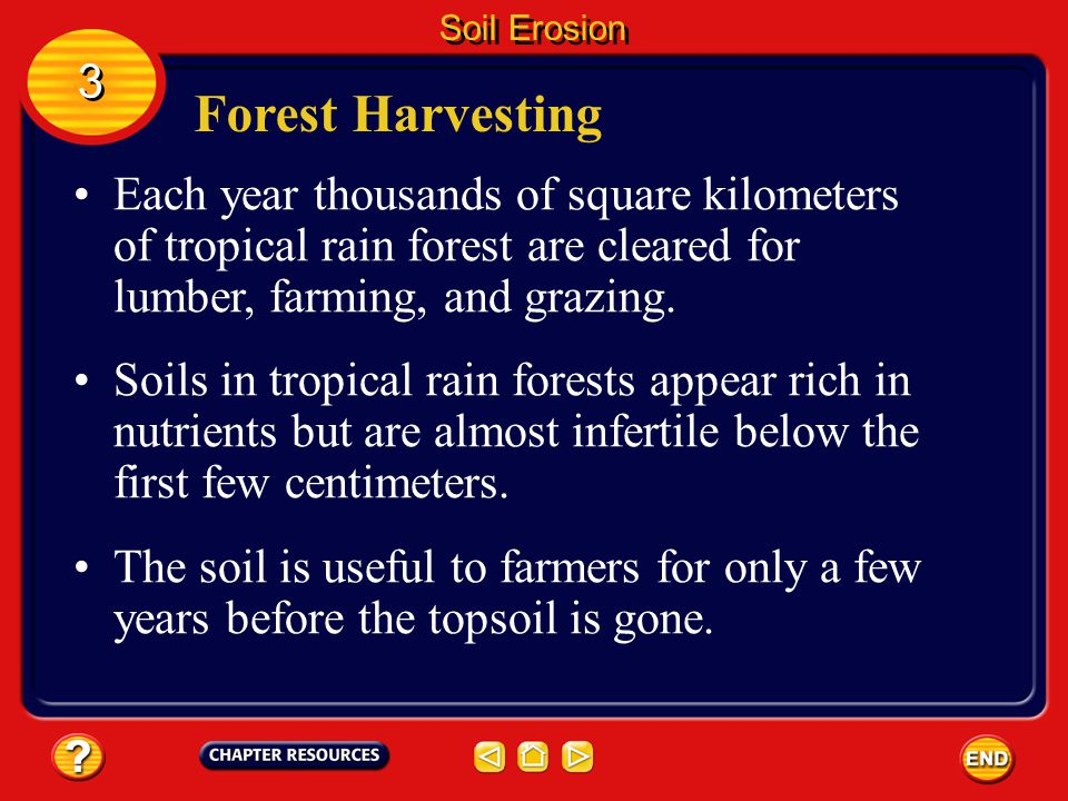 Soil Erosion 3. Forest Harvesting. Each year thousands of square kilometers of tropical rain forest are cleared for lumber, farming, and grazing.