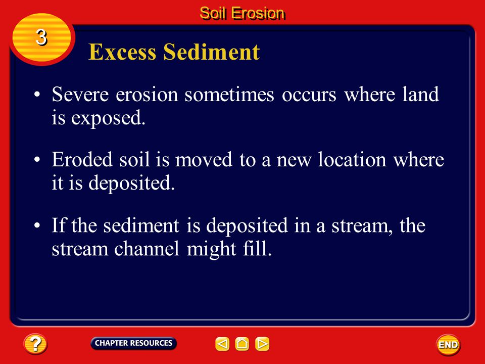 Soil Erosion 3. Excess Sediment. Severe erosion sometimes occurs where land is exposed.