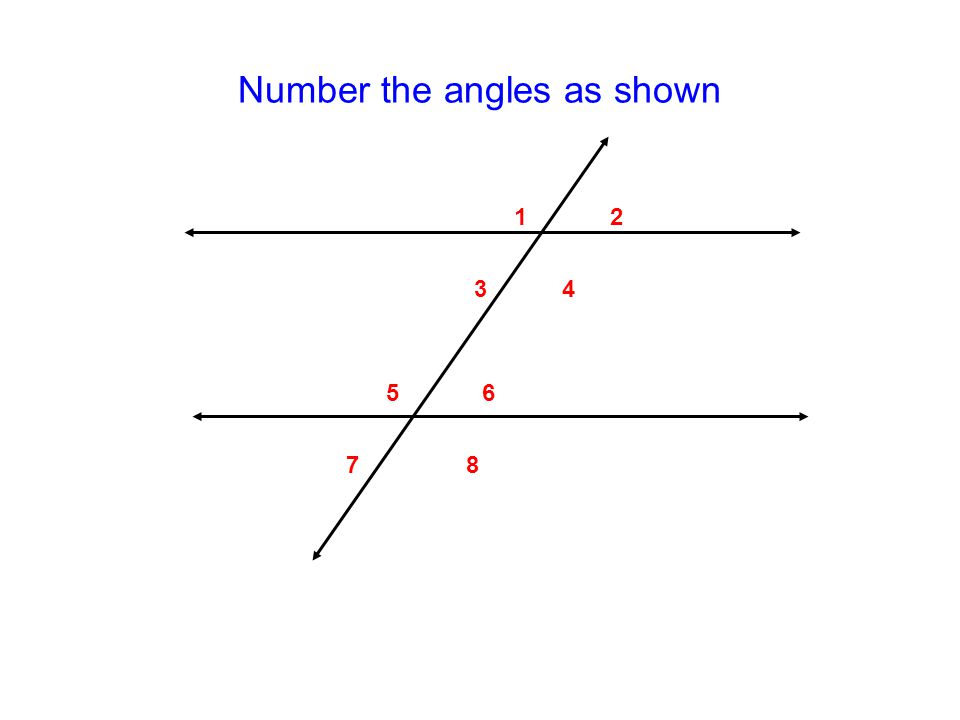 Number the angles as shown