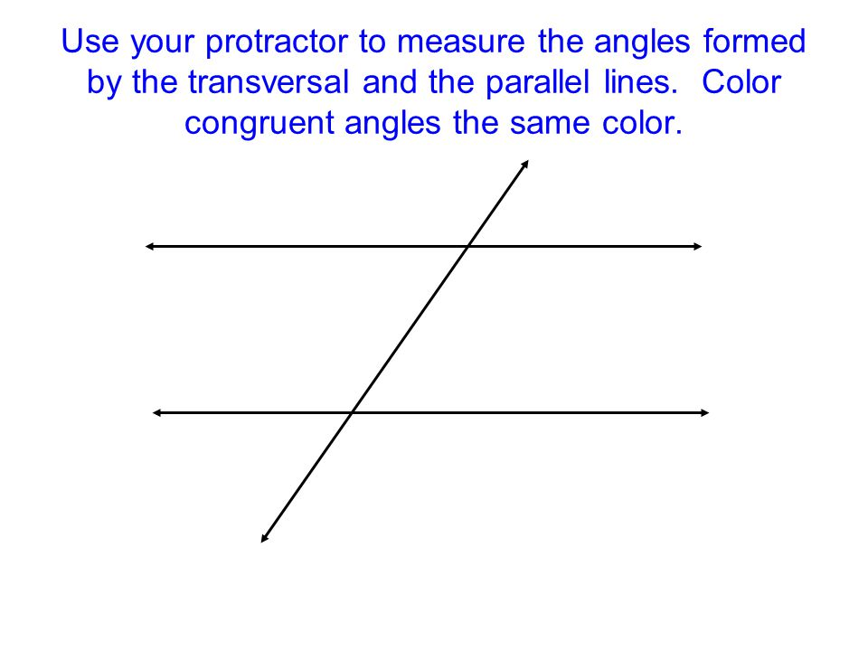 Use your protractor to measure the angles formed by the transversal and the parallel lines.