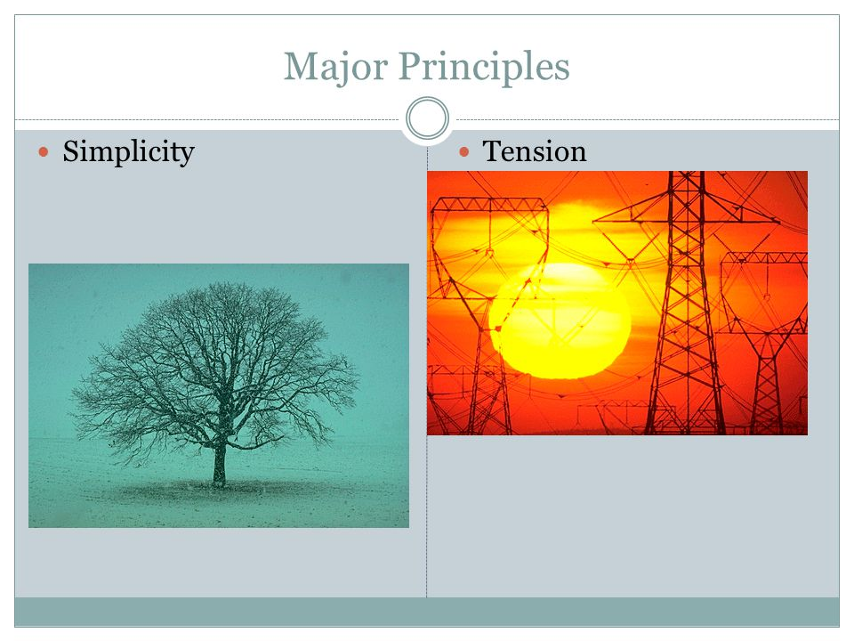 Major Principles Simplicity Tension