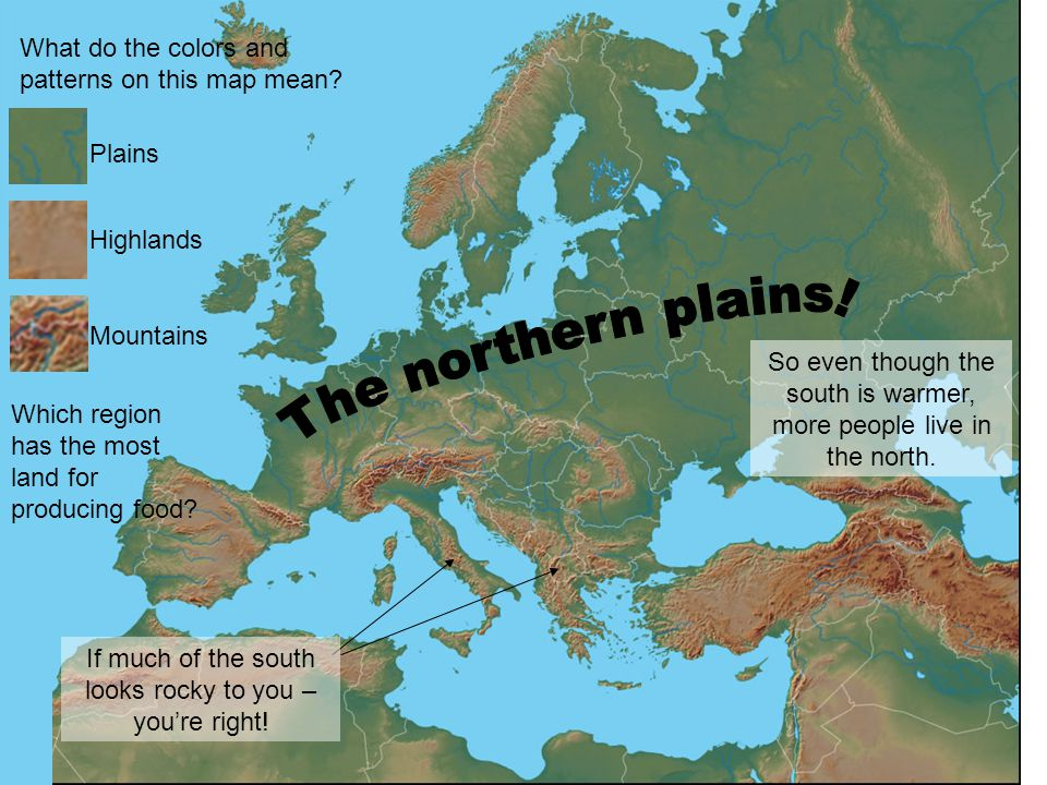 The northern plains! What do the colors and patterns on this map mean
