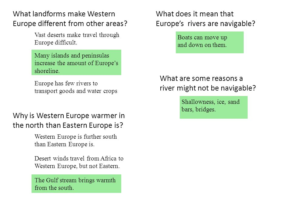 What landforms make Western Europe different from other areas