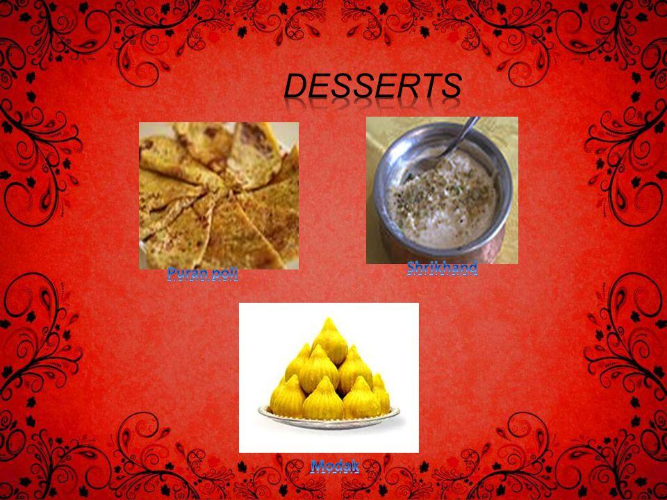 Desserts Shrikhand Puran poli Modak