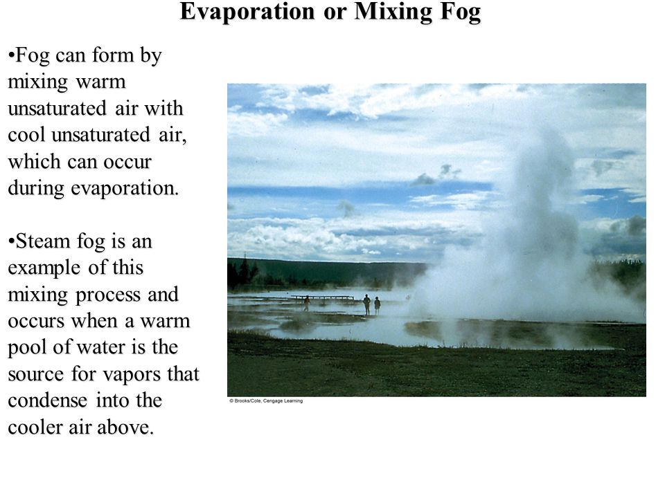 Evaporation or Mixing Fog
