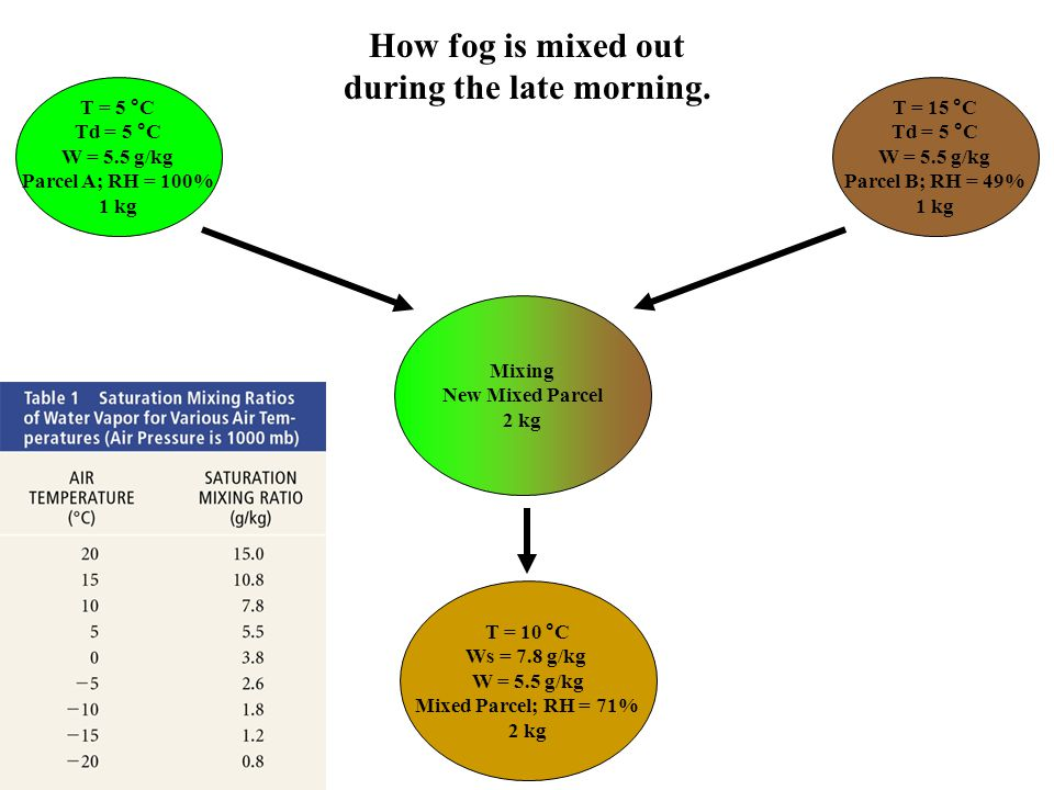How fog is mixed out during the late morning.