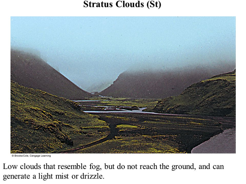 Stratus Clouds (St) Low clouds that resemble fog, but do not reach the ground, and can generate a light mist or drizzle.
