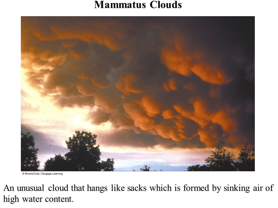 Mammatus Clouds An unusual cloud that hangs like sacks which is formed by sinking air of high water content.