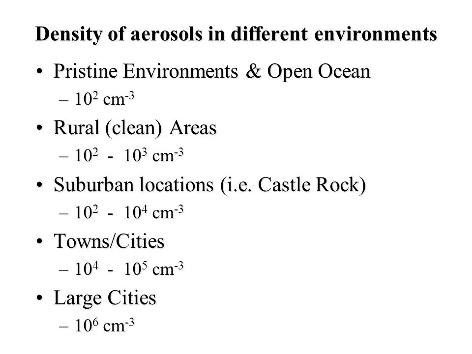 Density of aerosols in different environments