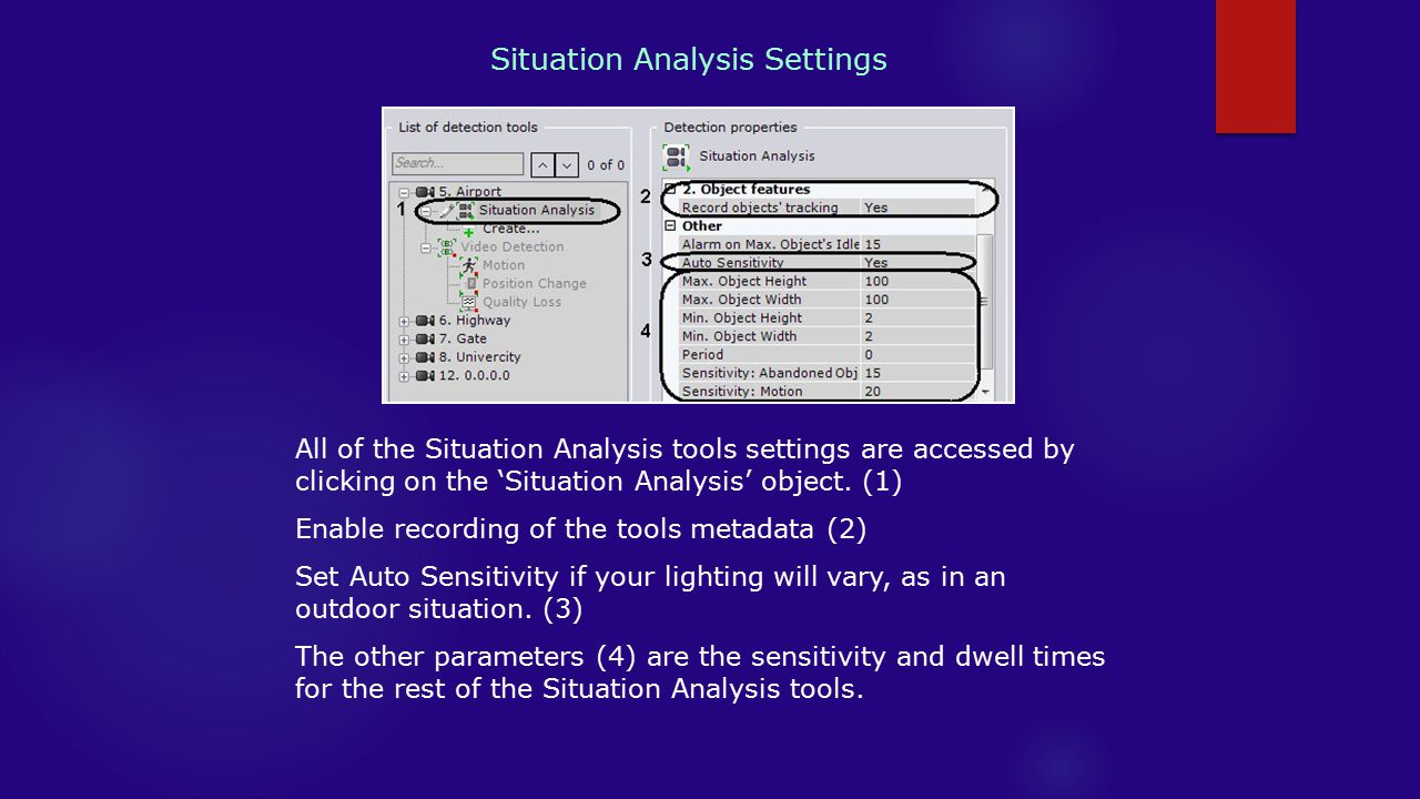 Situation Analysis Settings