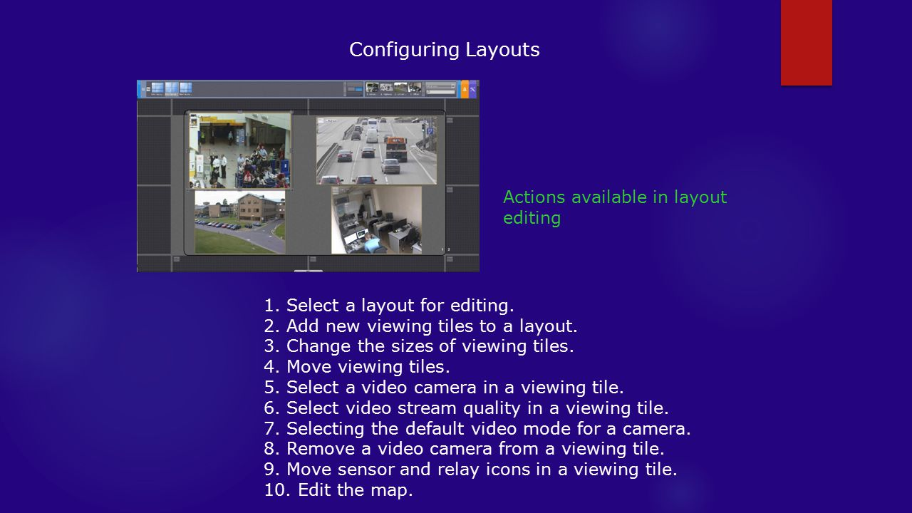 Configuring Layouts Actions available in layout editing