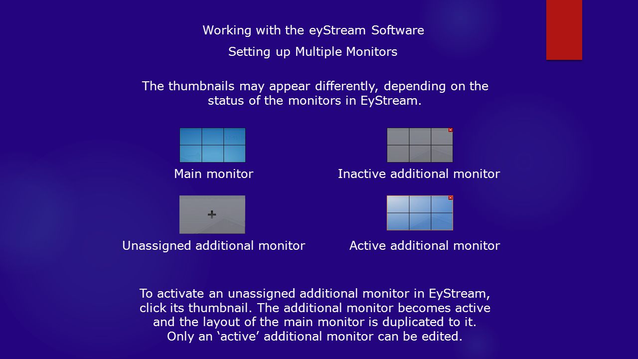 Working with the eyStream Software Setting up Multiple Monitors
