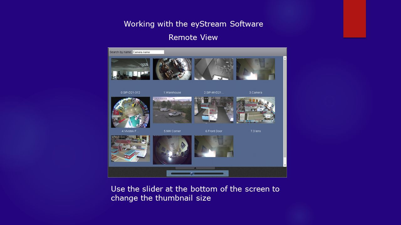 Working with the eyStream Software