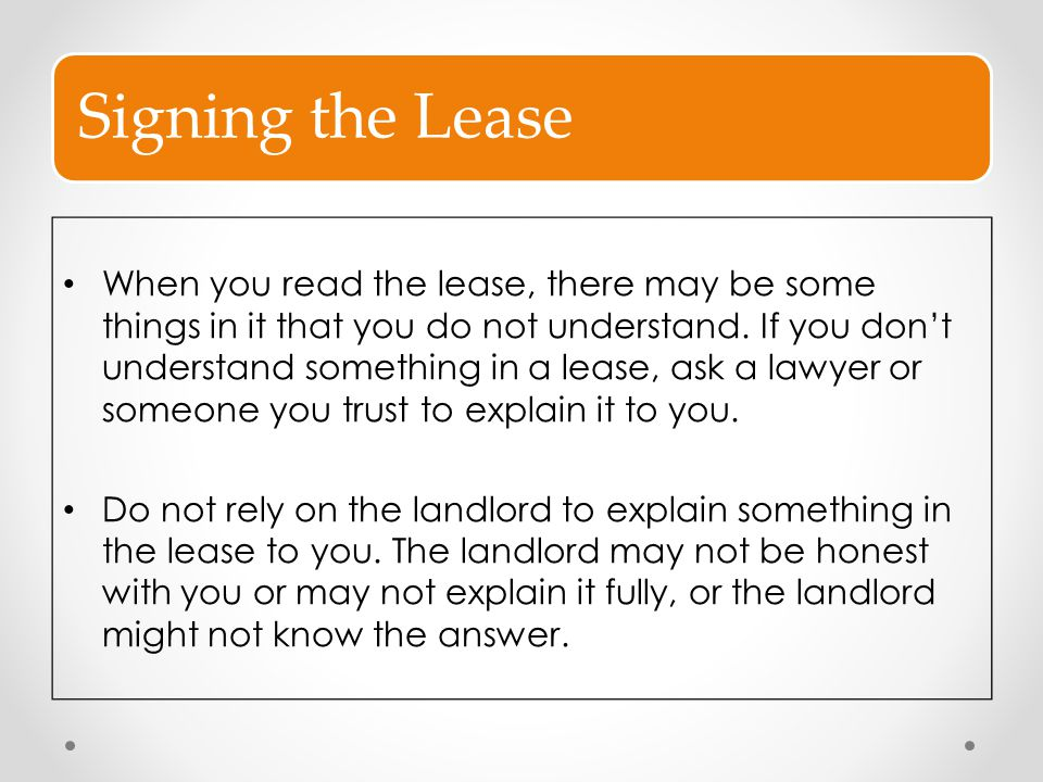Signing the Lease