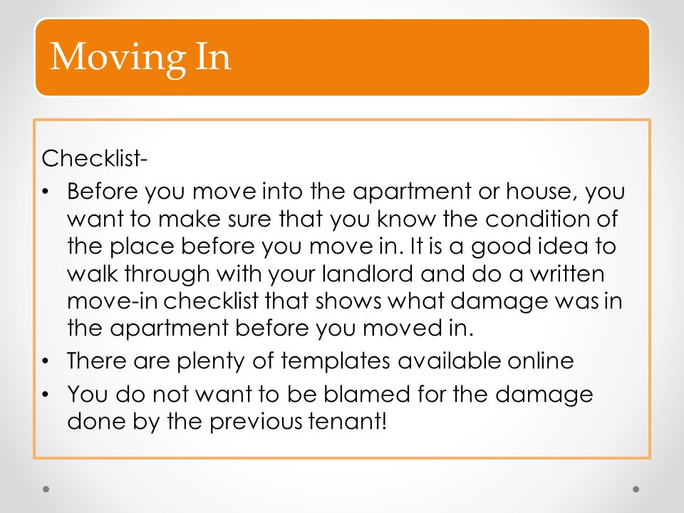 Moving In Checklist-