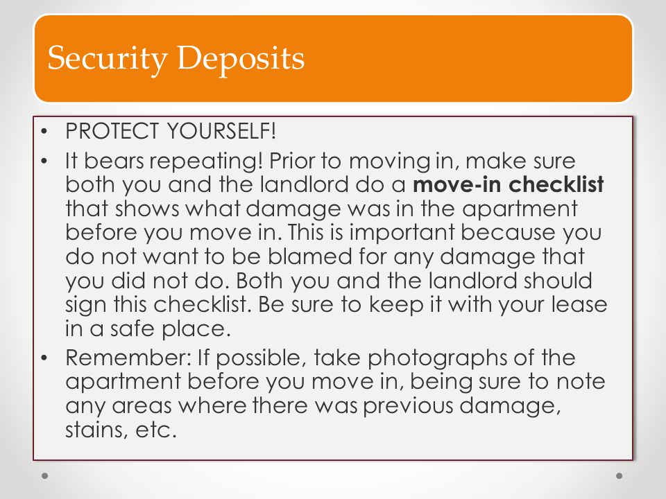 Security Deposits PROTECT YOURSELF!