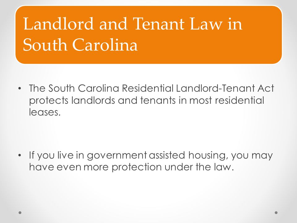 Landlord and Tenant Law in South Carolina