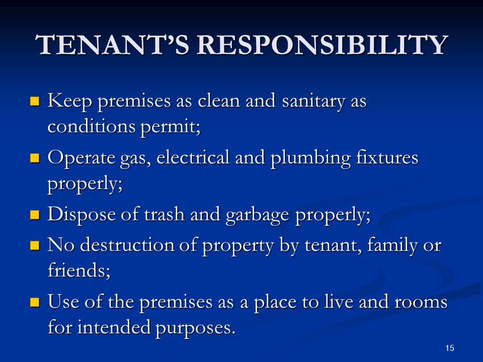 TENANT'S RESPONSIBILITY