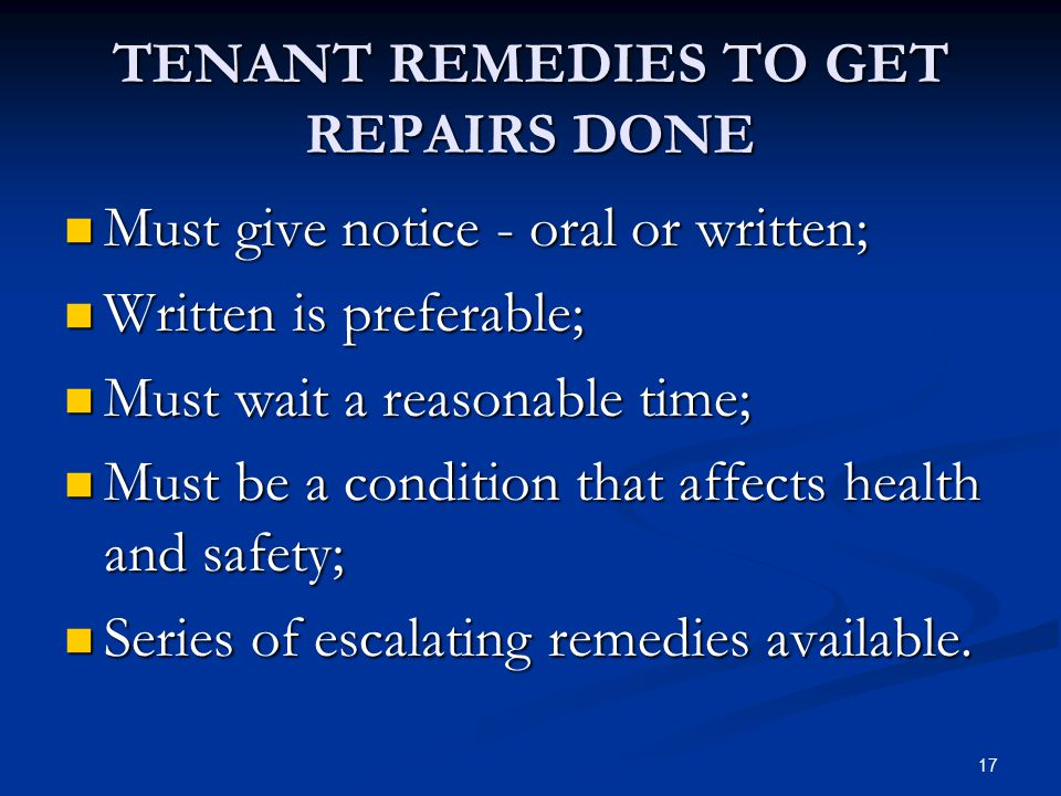 TENANT REMEDIES TO GET REPAIRS DONE