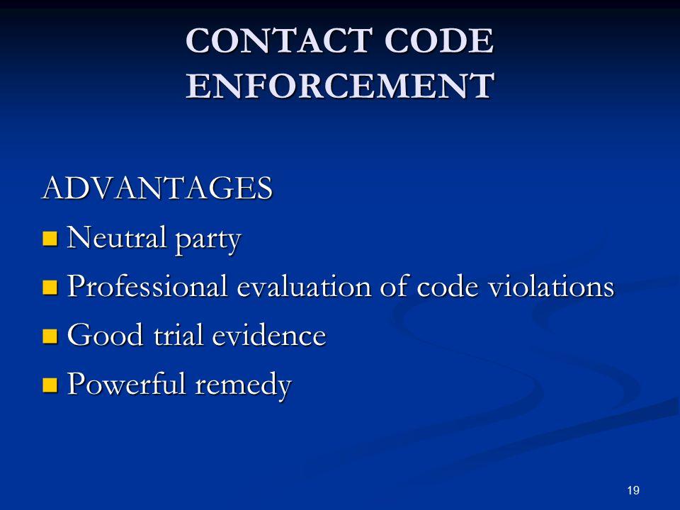CONTACT CODE ENFORCEMENT