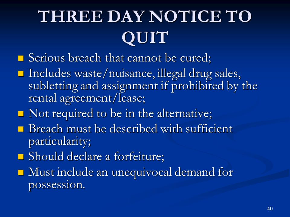 THREE DAY NOTICE TO QUIT
