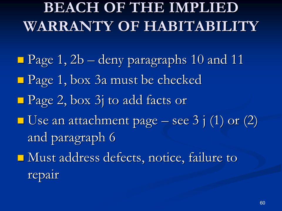 BEACH OF THE IMPLIED WARRANTY OF HABITABILITY