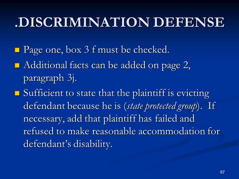 .DISCRIMINATION DEFENSE