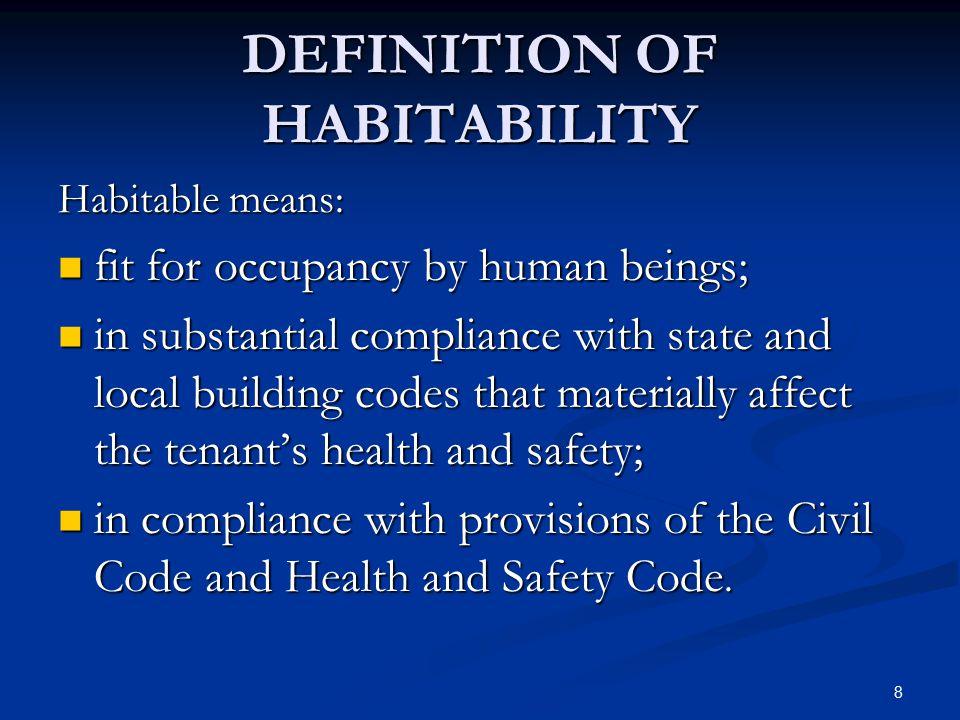 DEFINITION OF HABITABILITY