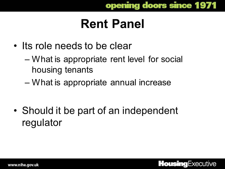 Rent Panel Its role needs to be clear