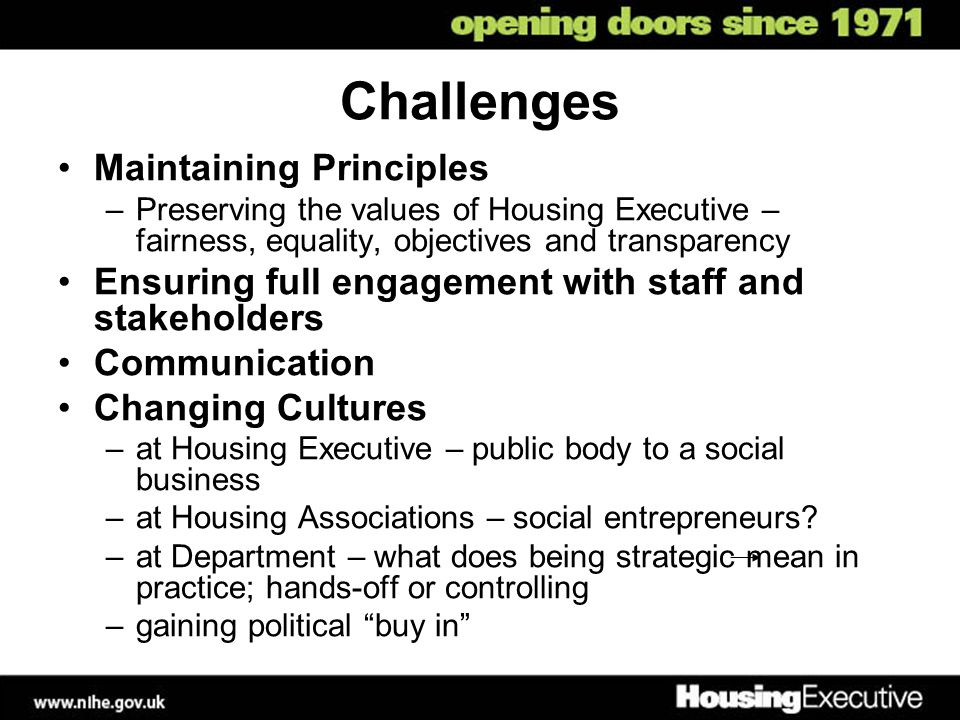 Challenges Maintaining Principles