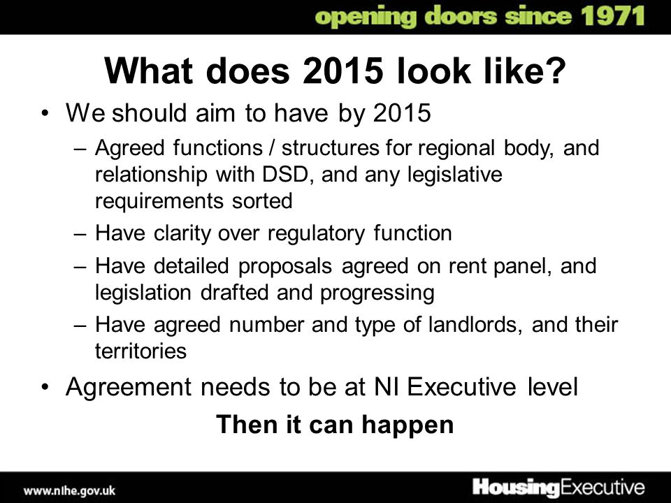 What does 2015 look like We should aim to have by 2015