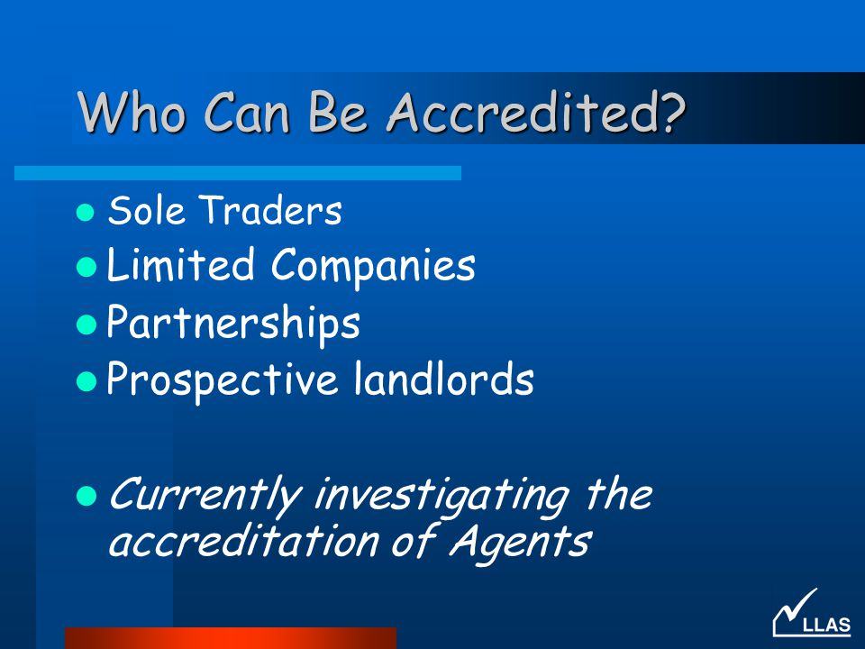 Who Can Be Accredited Limited Companies Partnerships