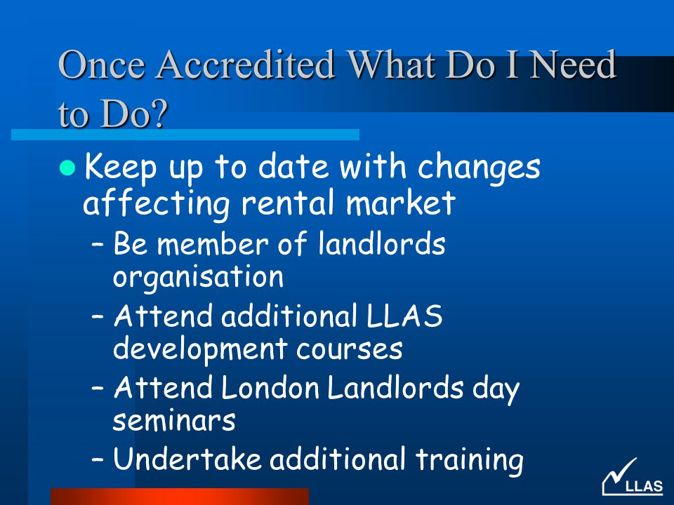 Once Accredited What Do I Need to Do