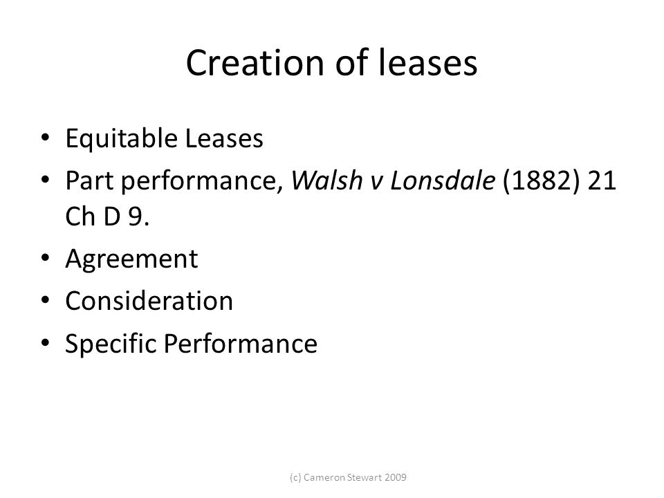 Creation of leases Equitable Leases