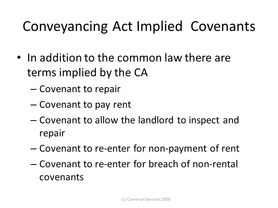 Conveyancing Act Implied Covenants