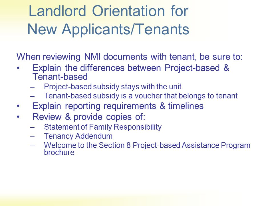 Landlord Orientation for New Applicants/Tenants