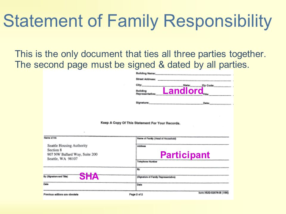 Statement of Family Responsibility