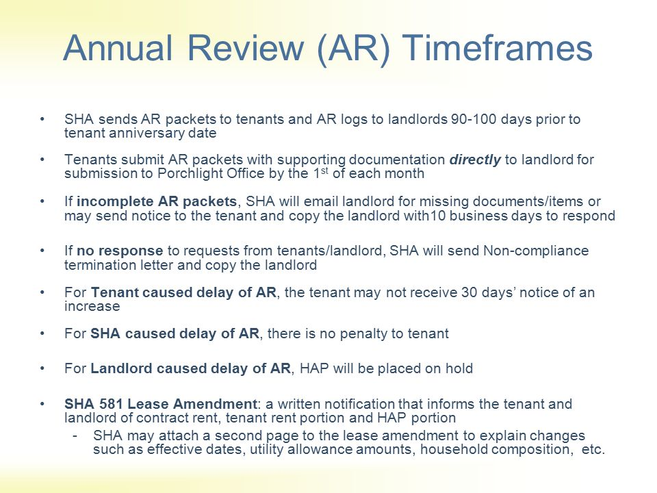 Annual Review (AR) Timeframes