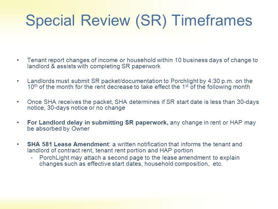 Special Review (SR) Timeframes