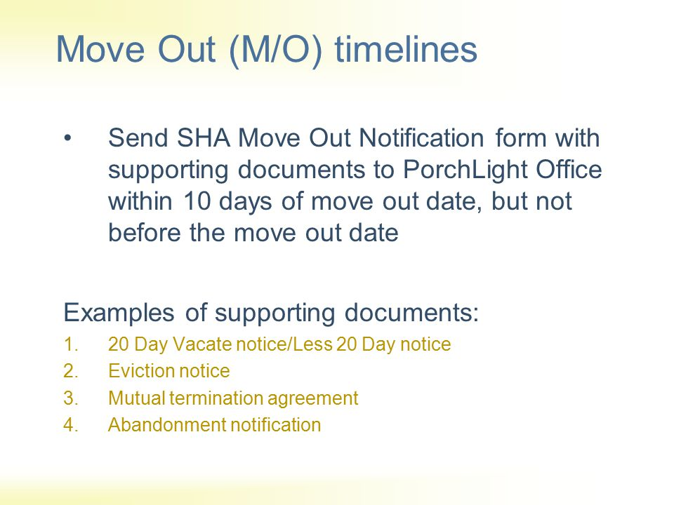 Move Out (M/O) timelines