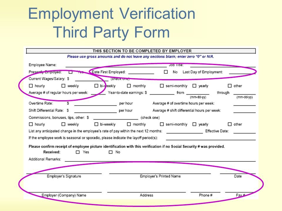 Employment Verification Third Party Form