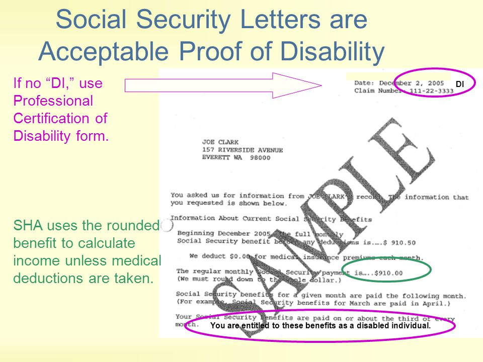 Social Security Letters are Acceptable Proof of Disability