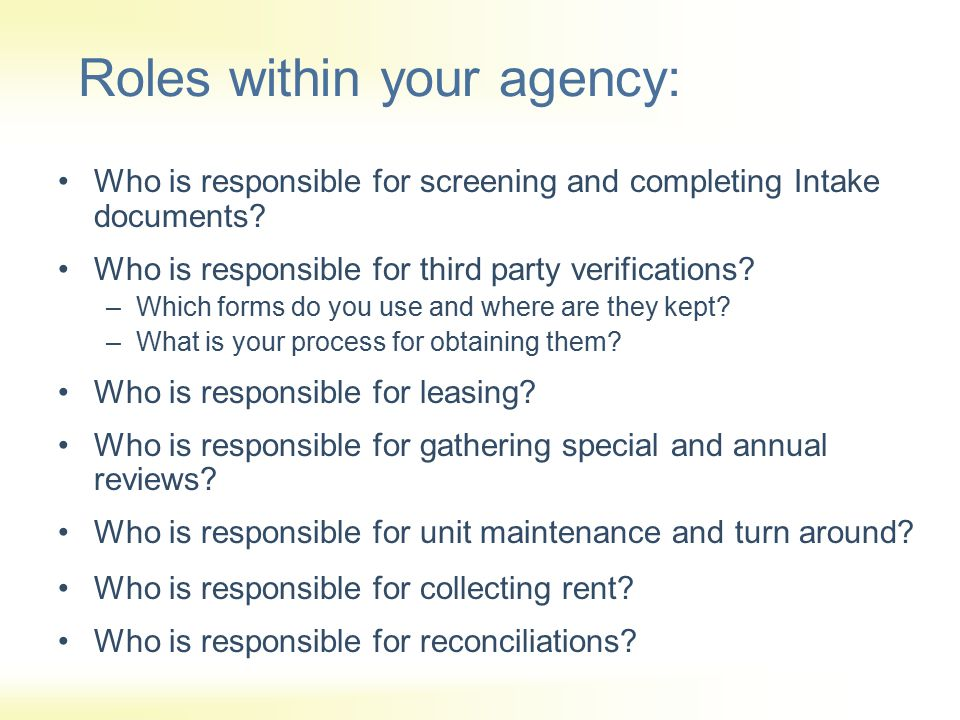 Roles within your agency: