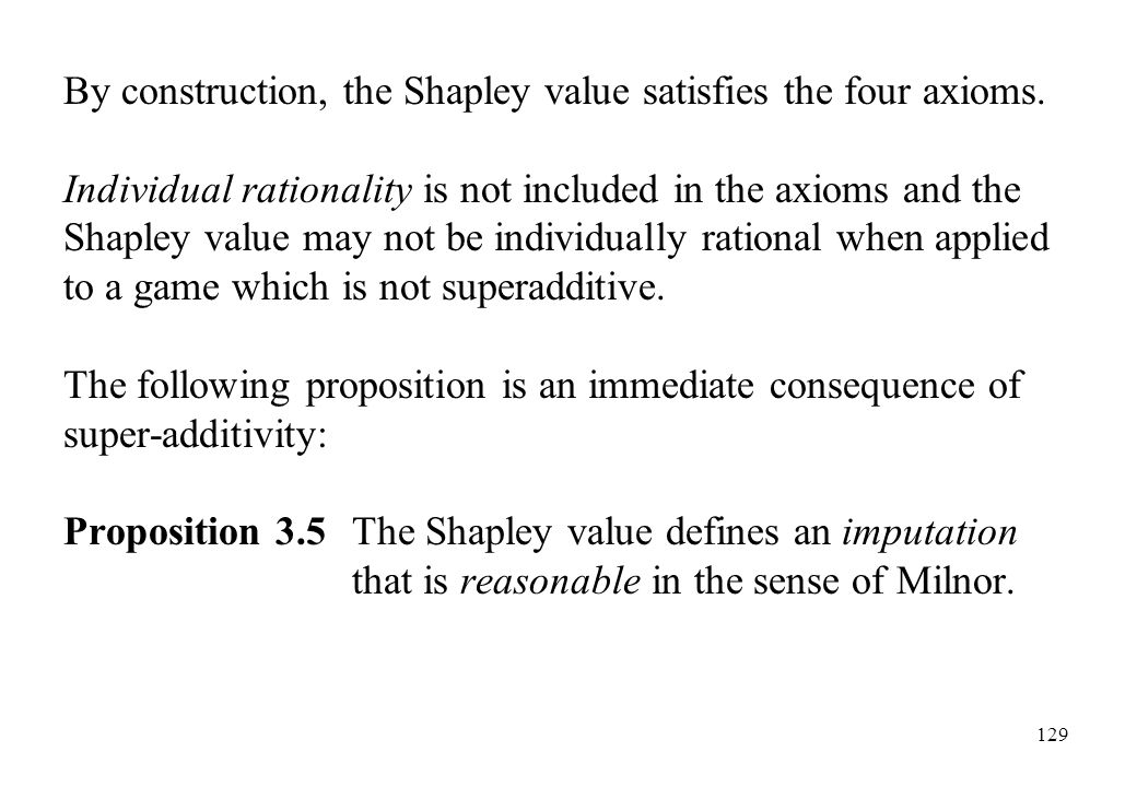 By construction, the Shapley value satisfies the four axioms.