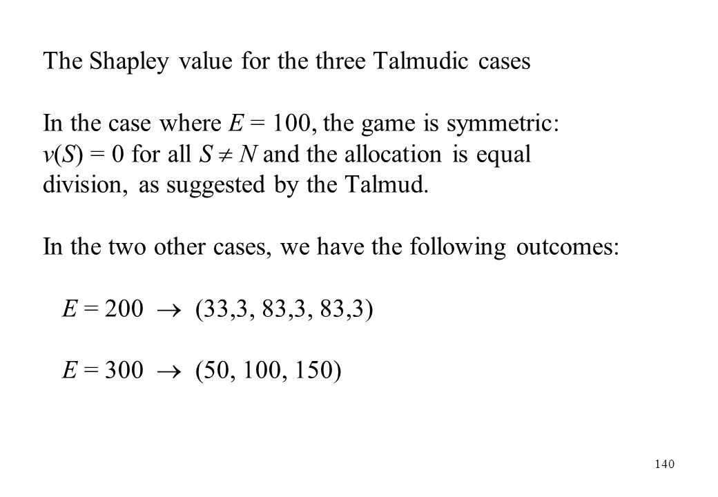 The Shapley value for the three Talmudic cases
